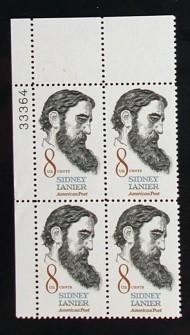 US Stamp #1446 MNH – Sydney Lanier –  Plate Block of 4