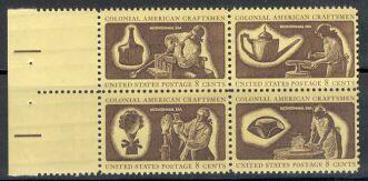US Stamp #1456-9 MNH – ColonialCraftsmen – SeTenant PltBlk/4