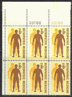US Stamp #1469 MNH – Osteopathic Medicine – Plate Block of 6