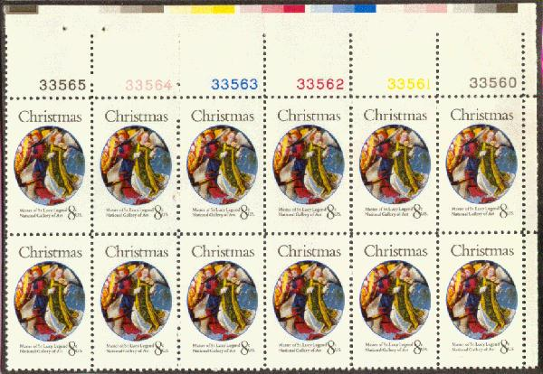 US Stamp #1471 – Christmas Angels – Plate Block of 12