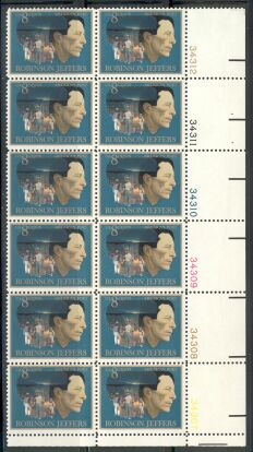 US Stamp #1485 MNH Robinson Jeffers Plate Block 12