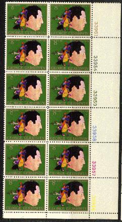US Stamp #1484 – George Gershwin – Plate Block of 12
