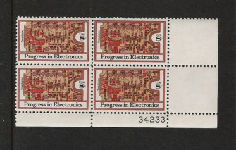 US Stamp #1501 MNH – Electronics – Plate Block of 4