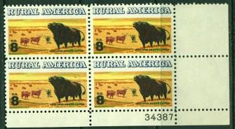 US Stamp #1504 MNH – Rural America – Plate Block of 4
