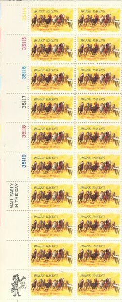 US Stamp #1528 MNH Horse Racing Plate/ZIP/ME Block 20