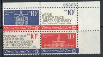 US Stamp #1543-6 MNH – Continental Congress – Plate Blk / 4