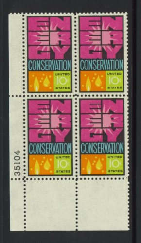 US Stamp #1547 MNH – Energy Conservation – Plate Block of 4