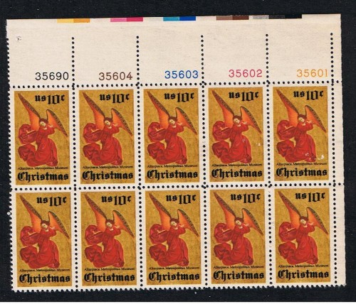 US Stamp #1550 – Christmas Angel – Plate Block of 10