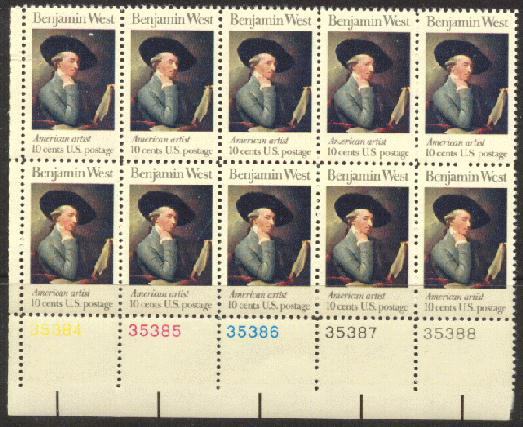 US Stamp #1553 MNH Benjamin West Plate Block 10