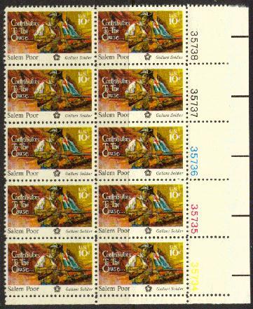 US Stamp #1560 MNH Salem Poor Plate Block 10