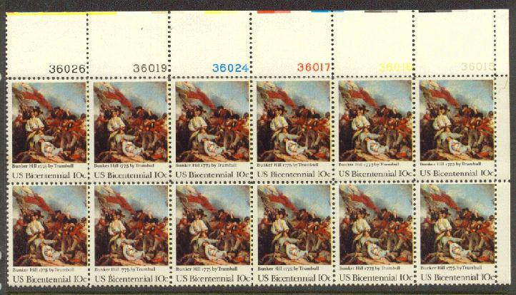 US Stamp #1564 MNH Battle of Bunker Hill Plate Block 12