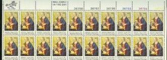 US Stamp #1579 MNH Xmas Madonna/Child Plate/ZIP/ME Block /20
