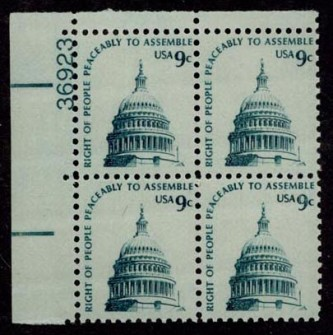 US Stamp #1591 MNH – Capitol Dome – Plate Block of 4
