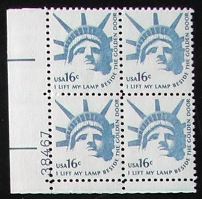 US Stamp #1599 MNH – Head of Liberty – Plate Block of 4