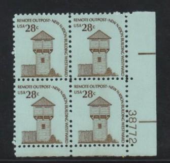 US Stamp #1604 MNH – Fort Nisqually – Americana Plt.Blk./4