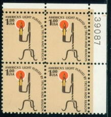US Stamp #1610 – Rush Lamp & Candle Holder – Plate Block/4