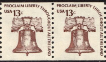 US Stamp #1618 MNH – Liberty Bell – Americana Coil Pair Dull Gum