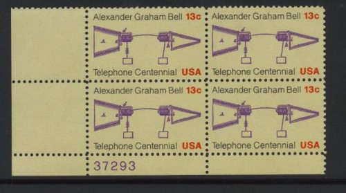 US Stamp #1683 MNH – Telephone – Matched Set of Plate Blks