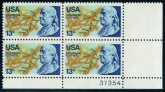 US Stamp #1690 MNH – Benjamin Franklin – Plate Block of 4