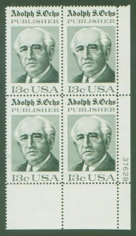 US Stamp #1700 MNH – Adolphe Oches – Plate Block of 4
