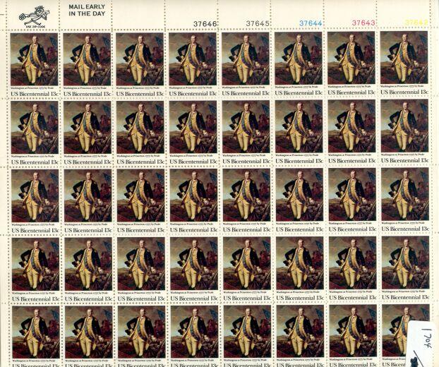 US Stamp #1704 MNH – Washington at Princeton – Sheet of 40