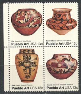 US Stamp #1706-09 MNH – Pueblo Art – Se-Tenant Block of 4