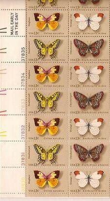 US Stamp #1712-1715 MNH Butterflies Plate / ZIP Block of 20