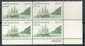 US Stamp #1733 MNH – Captain Cook's Ships – Plate Block of 4