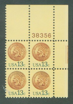 US Stamp #1734 MNH – Indian Head Penny – Plate Block of 4