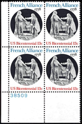 US Stamp #1753 MNH – French Alliance – Plate Block of 4