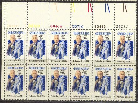 US Stamp #1756 MNH George M. Cohan Plate Block / 12