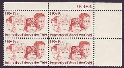 US Stamp #1772 MNH – International Year of Child Plate Blk/4