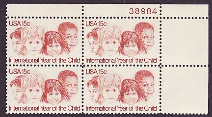 US Stamp #1772 – Year of Child – Matched Set of Plate Blocks