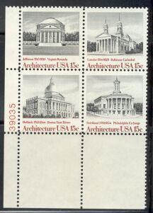 US Stamp #1779-82 MNH – Architecture – SeTenant PlateBlock/4