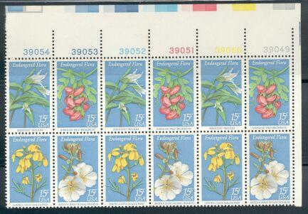 US Stamp #1783-1786 – Flora – Se-Tenant Plate Block of 12