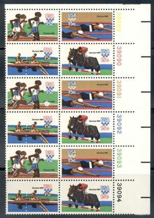 US Stamp #1791-4 MNH '80 Olympics SeTenant Plate/ZIP Block20