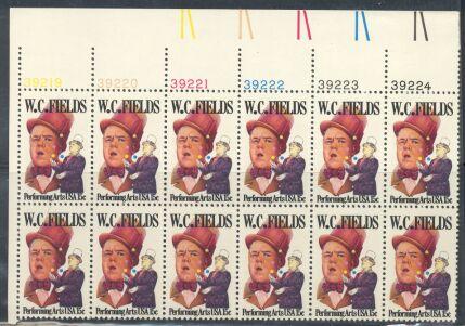 US Stamp #1803 MNH W.C. Fields Plate / ZIP Block of 20