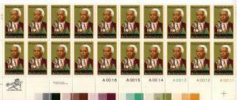 US Stamp #1804 MNH B. Banneker Plate / ZIP Block of 20