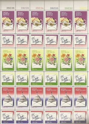 US Stamp #1805-10 MNH Letter Writing Plate Block of 36
