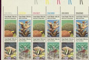 US Stamp #1827-1830 – Coral Reefs – Se-Tenant Plt/Ins Blk/16