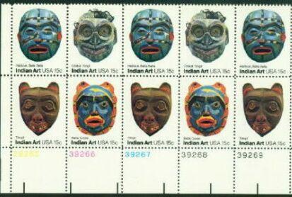 US Stamp #1834-1837 MNH – Indian Masks – Se-Tenant PltBlk/10