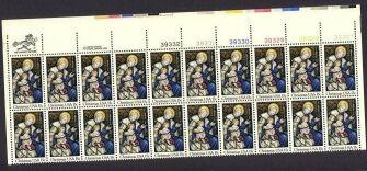 US Stamp #1842 MNH Madonna and Child Plate/ZIP/MI Block of 20