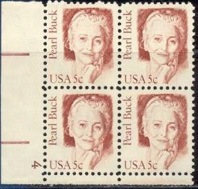 US Stamp #1848 – Great American Pearl Buck – Plate Block / 4