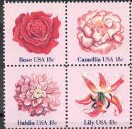 US Stamp #1876-1879 MNH Flowers Se-Tenant Block of 4