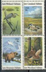 US Stamp #1921-4 MNH Saving Habitats Se-Tenant Block of 4