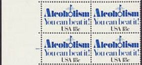 US Stamp #1927 MNH – Alcoholism – Block/4 w/ Plate Number