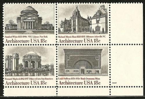 US Stamp #1928-31 MNH – Architecture SeTenant – Plate Block / 4