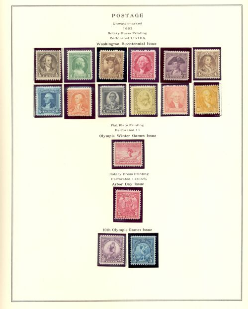 US Stamp # 704-719 Mint – 1932 Commemoratives on an Album Page