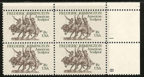US Stamp #1934 MNH – Frederick Remington – Plate Block of 4