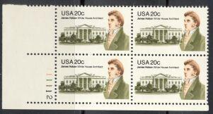 US Stamp #1936 MNH James Hoban Plate Block of 4